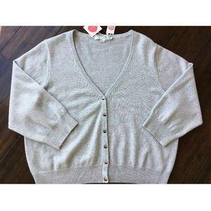Boden 18 Cashmere Gray 3/4 Sleeve V-neck Cardigan